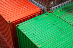 Cargo containers are stacked in the port Stock Photo