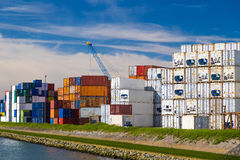 Cargo containers stacked in Port of Rotterdam Royalty Free Stock Images