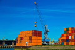 Cargo containers stacked in Port of Rotterdam Royalty Free Stock Image