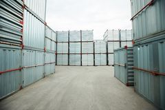 Cargo containers stacking outdoors Royalty Free Stock Image