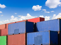 Cargo containers. Stacks of colorful cargo containers royalty free stock image