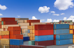 Cargo containers. Stacks of colorful cargo containers Stock Photo