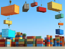 Cargo containers in storage area with forklifts. Delivery  or sh Royalty Free Stock Photo