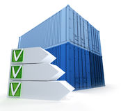 Cargo containers  and successful checklist Royalty Free Stock Photography