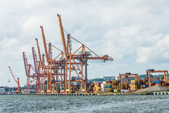 Cargo containers terminal Royalty Free Stock Photo