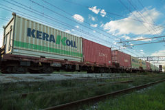 Cargo Containers Train Transporter. I shoot this in Pisa, Italy Stock Photography