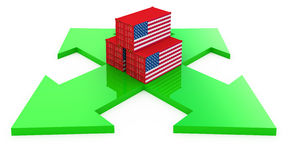 Cargo containers from USA Stock Images