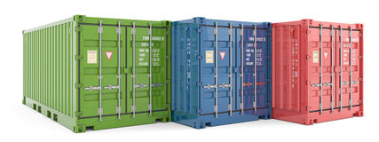 Cargo containers on white background Royalty Free Stock Images