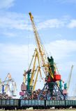 Cargo crane. Crane ship metal in train Royalty Free Stock Photo