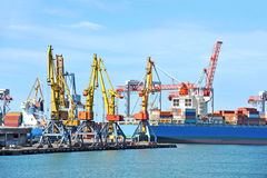 Cargo crane and container ship Royalty Free Stock Photo