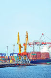 Cargo crane and container ship Royalty Free Stock Images