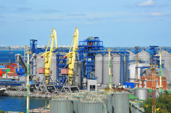 Cargo crane and grain dryer Stock Photography