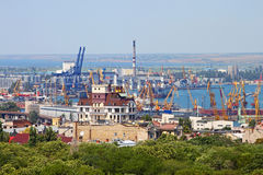 Cargo crane and grain dryer, port Odessa, Ukraine Stock Photos