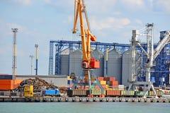 Cargo crane and grain silo. In port Odessa, Ukraine Stock Photography