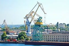 Cargo crane at harbor Royalty Free Stock Images