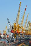 Cargo crane, pipe and ship Royalty Free Stock Image