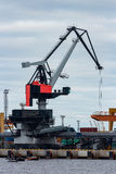Cargo crane in the port. Of Riga, Europe royalty free stock image