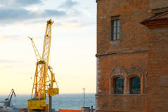 Cargo crane in sea port of Ancona Italy Royalty Free Stock Photography