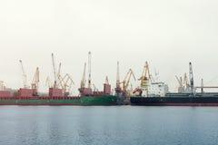 Cargo crane sea port Stock Photos