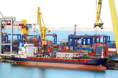 Cargo crane and ship Stock Photography