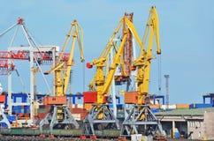 Cargo crane, train and coal Stock Photos