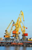 Cargo crane and train Royalty Free Stock Image