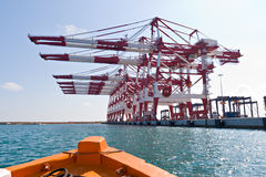 Cargo Cranes. In Industrial Port Stock Photo