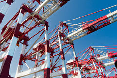 Cargo Cranes. In Industrial Port Stock Images