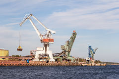 Cargo with cranes Royalty Free Stock Photography