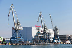 Cargo cranes on the coast of Fish port of Burgas Stock Photo