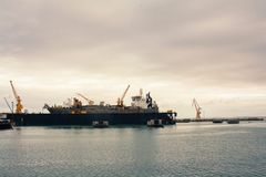 Cargo cranes in the dock Royalty Free Stock Photography
