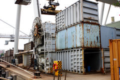 Cargo cranes at harbor Stock Image
