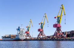 Cargo cranes in port royalty free stock image