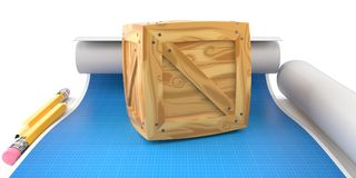 Cargo crate with blueprint stock illustration