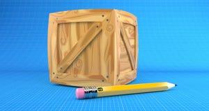 Cargo crate. On blueprint background stock illustration