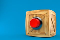 Cargo crate with red push button. On blue background Royalty Free Stock Image