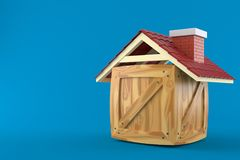 Cargo crate with roof. Isolated on blue background Stock Images