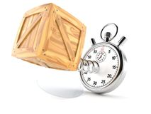 Cargo crate with stopwatch. On white background stock illustration