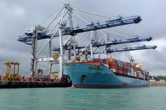 Cargo déchargeant des récipients dans les ports d'Auckland Nouvelle-Zélande images libres de droits