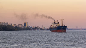 Cargo on the Danube river Royalty Free Stock Images