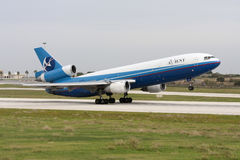 Cargo DC-10 lifting off the runway Royalty Free Stock Photo