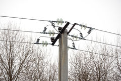 Cargo de alta tensão da eletricidade Fotografia de Stock Royalty Free