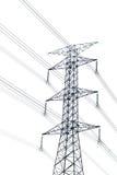 Cargo de alta tensão ou torre de alta tensão isolado no branco Imagem de Stock Royalty Free