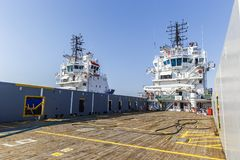 Cargo deck of the ship. Sea transport Stock Images