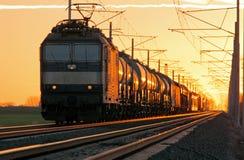 Cargo del tren en ferrocarril Fotos de archivo libres de regalías