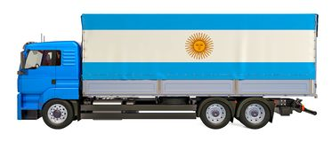 Cargo Delivery in Argentina concept, 3D rendering. Cargo Delivery in Argentina, 3D rendering isolated on white background stock illustration