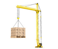 Cargo delivery Concept. Pallet with Cardboard lifted by Hoisting Stock Photos
