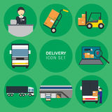 Cargo delivery icon set. Flat vector icons set of Abstract Cargo Delivery with Trucks and Box Royalty Free Stock Image