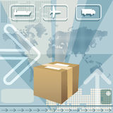 Cargo delivery. Illustration with delivering box against world map and icons of plane, truck and cargo ship Royalty Free Stock Photos