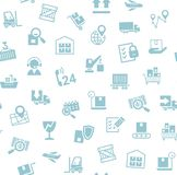 Cargo delivery, seamless pattern, white, blue, vector. royalty free stock image